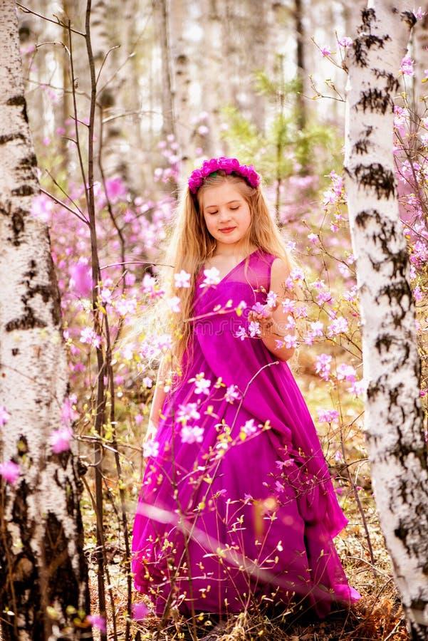 孩子在喇叭茶和桦树中站立在一桃红色礼服和微笑 免版税库存照片