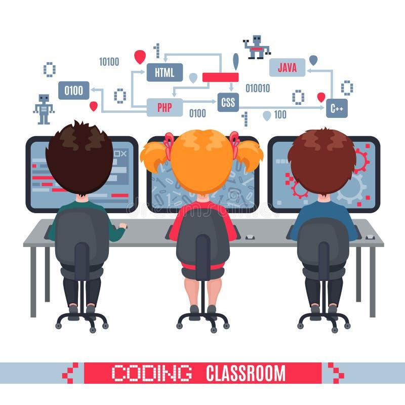 孩子在学校学会在膝上型计算机的编制程序 皇族释放例证