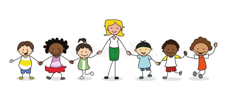 孩子在幼儿园,小组有握手的女老师的孩子.图片