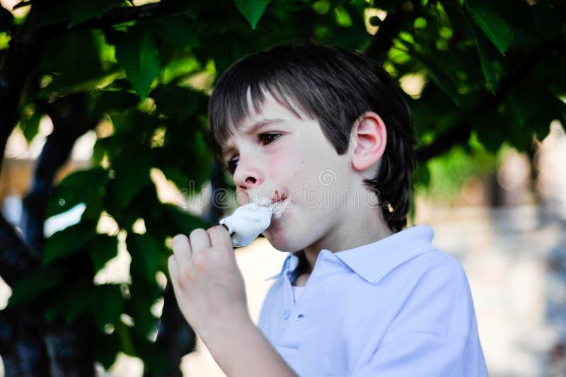 孩子在树的树荫下吃冰淇凌 免版税图库摄影