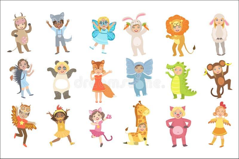 孩子在被设置的动物服装中 向量例证