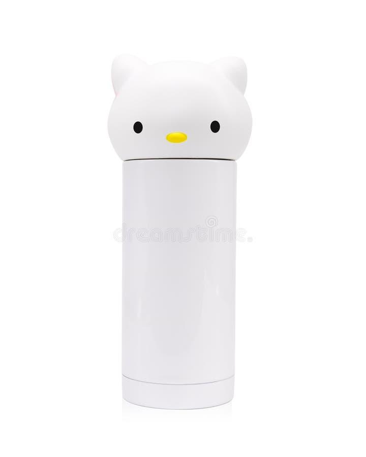 孩子在被隔绝的背景的水瓶与裁减路线 猫作为的面孔容器对学校或您的设计 向量例证