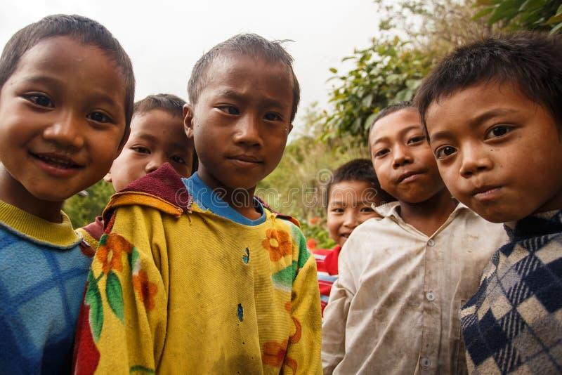 孩子在钦邦地区,缅甸 免版税图库摄影