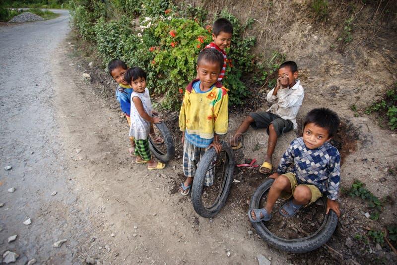孩子在钦邦地区,缅甸 免版税库存图片