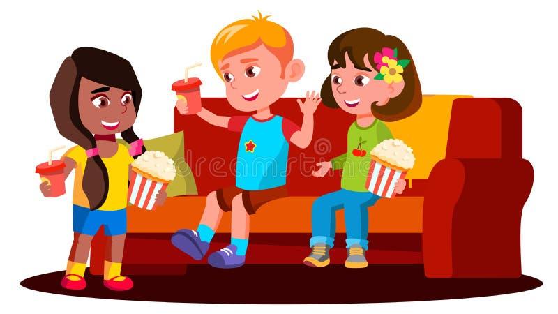 孩子坐有玉米花和饮料传染媒介的沙发 按钮查出的现有量例证推进s启动妇女 库存例证
