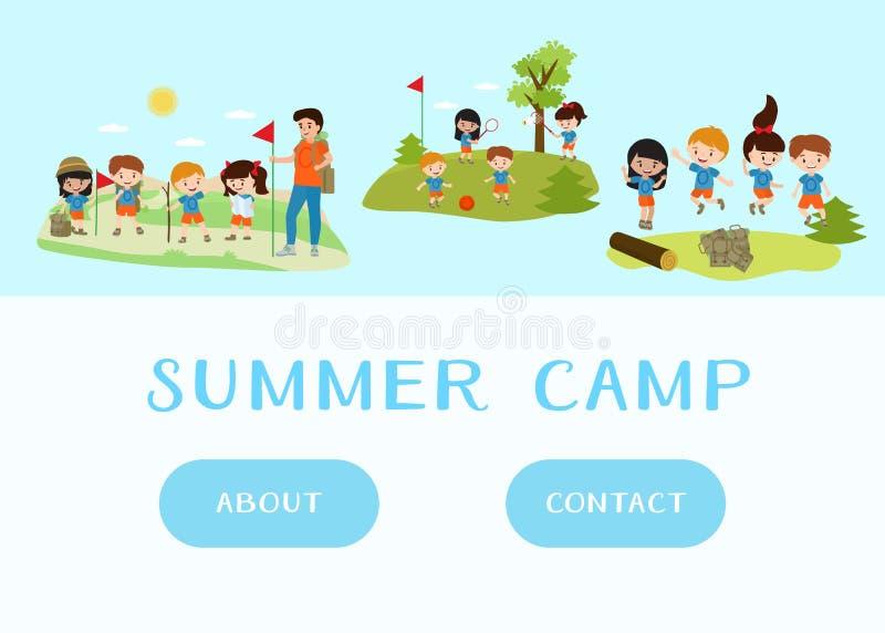 孩子夏令营假日和假期网模板  绿色海岛和蓝色海动画片儿童字符戏剧 皇族释放例证