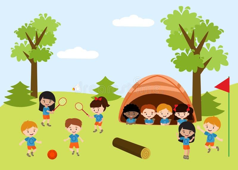 孩子夏令营教育广告与户外做在野营的孩子的例证的飞行物模板活动 向量例证