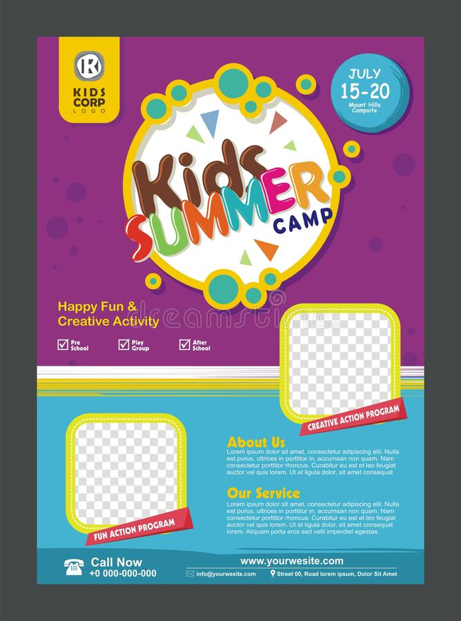 孩子夏令营横幅海报孩子的设计模板 库存例证