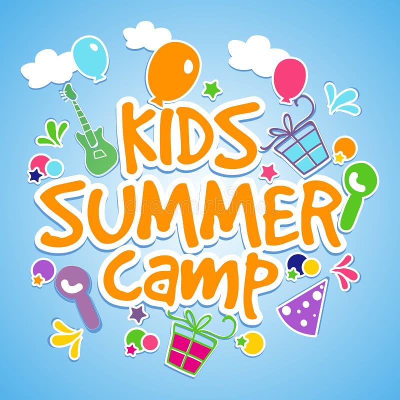 孩子夏令营海报、横幅或者飞行物设计 库存例证