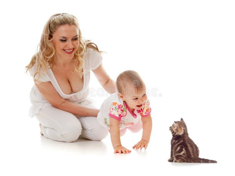 孩子小猫爱恋的母亲 免版税库存照片