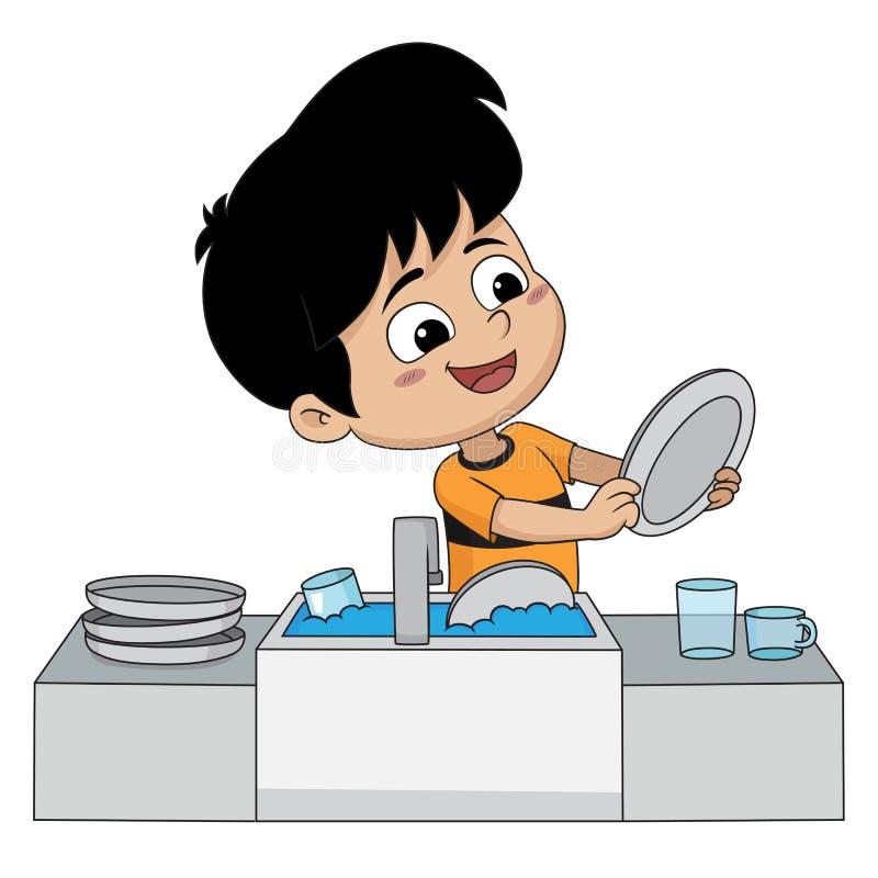孩子帮助他们的父母洗涤盘 皇族释放例证