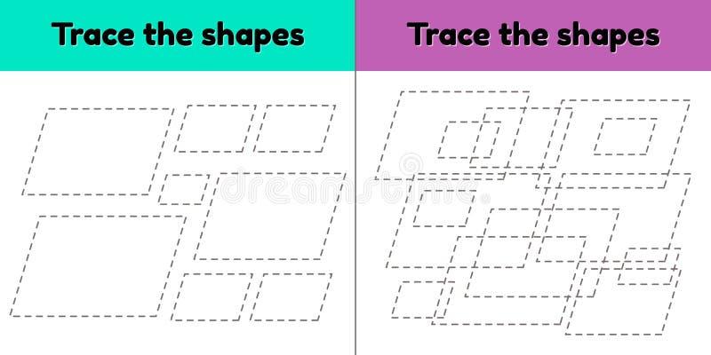 孩子幼儿园和入学年龄的教育追踪的活页练习题 r E 平行四边形 皇族释放例证