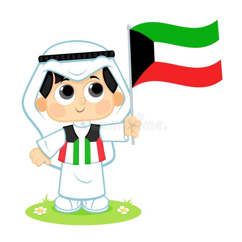 孩子庆祝科威特国庆节 向量例证
