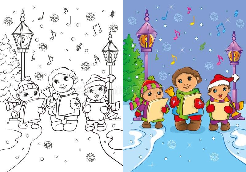 孩子彩图唱圣诞节颂歌 库存例证