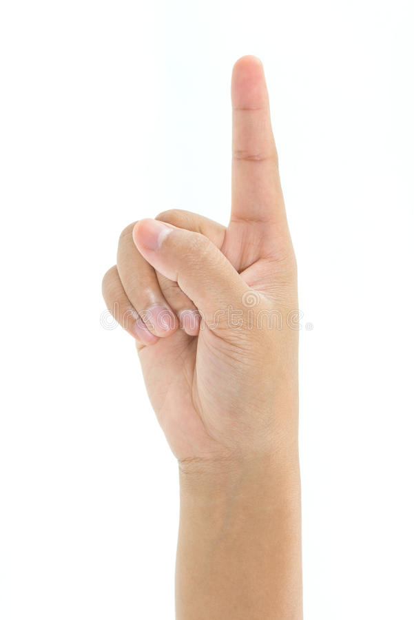孩子手指点  库存图片