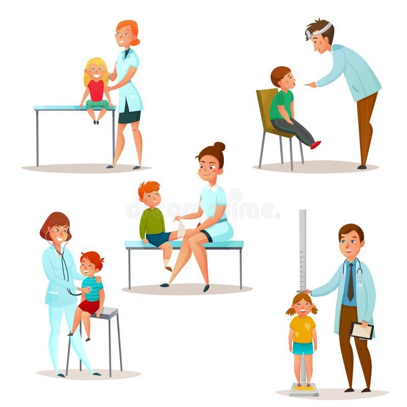 孩子拜访Icon Set医生的 皇族释放例证