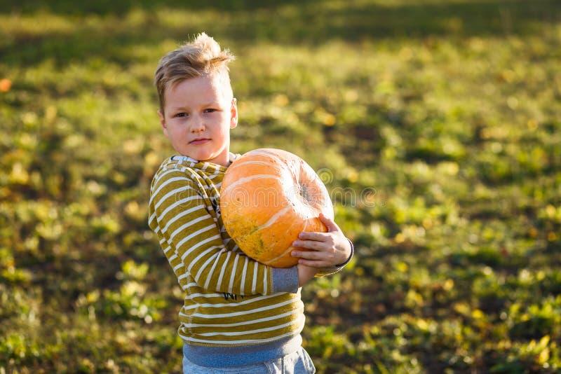 孩子拿着一个大橙色南瓜 免版税库存图片