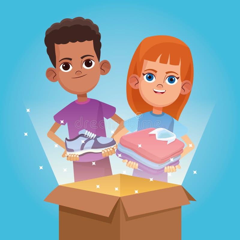 孩子捐赠和慈善动画片 向量例证