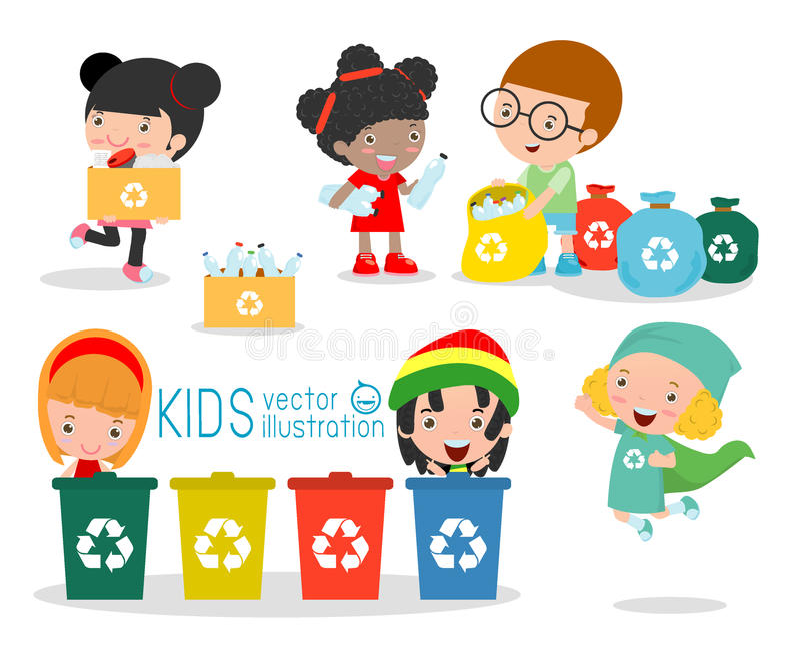 孩子收集分离垃圾的孩子的回收,例证的垃圾,回收垃圾、救球世界,男孩和女孩rec 库存例证