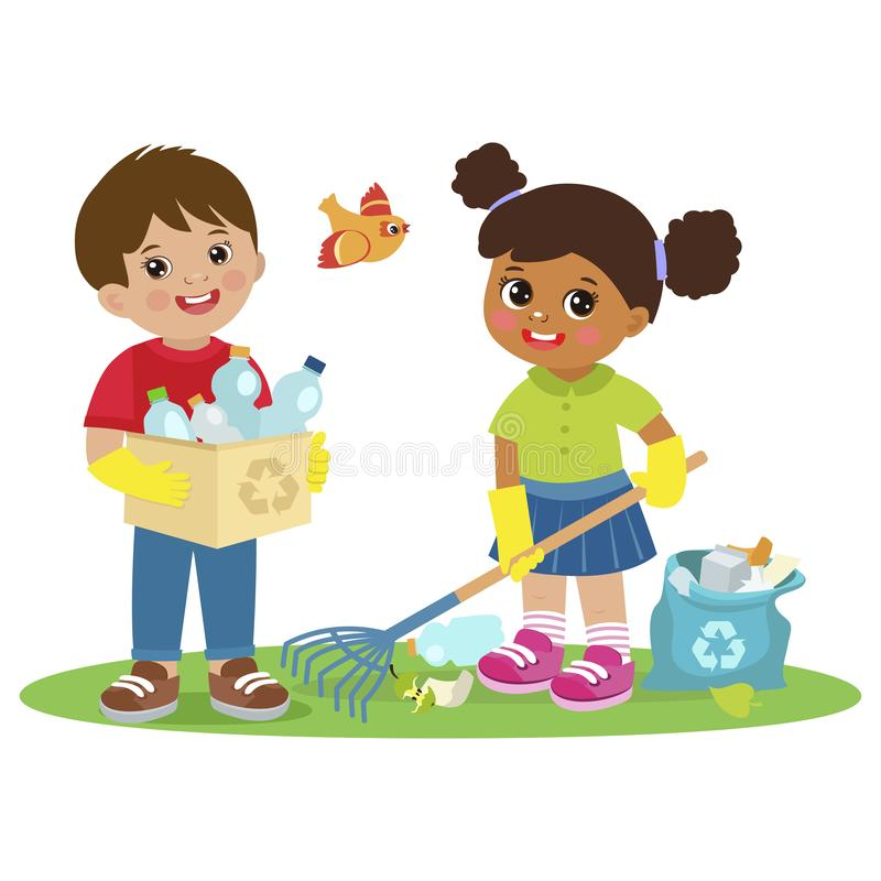 孩子收集回收的传染媒介例证垃圾 Eco教育传染媒介 库存例证