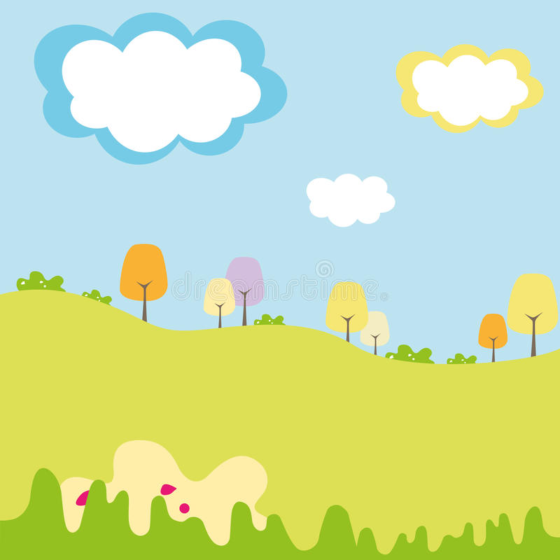 孩子有云彩的领域和图表森林 库存例证