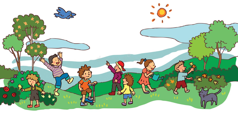 孩子有好时光在春天风景(v 皇族释放例证