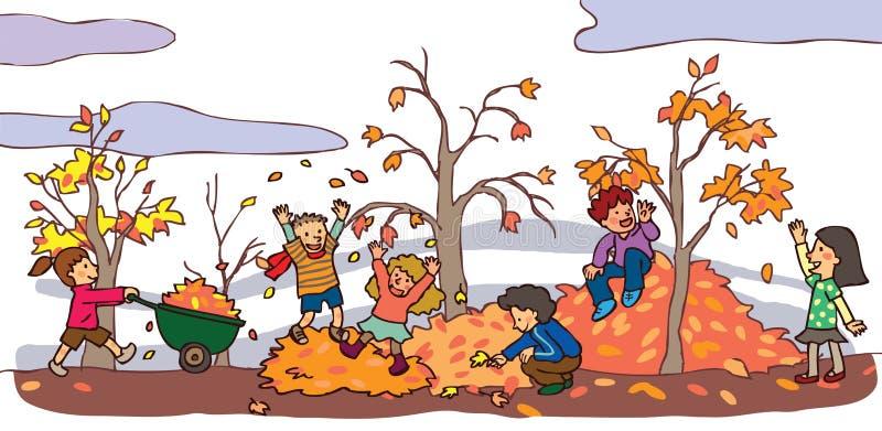 孩子有好时光在秋天风景(v 库存例证