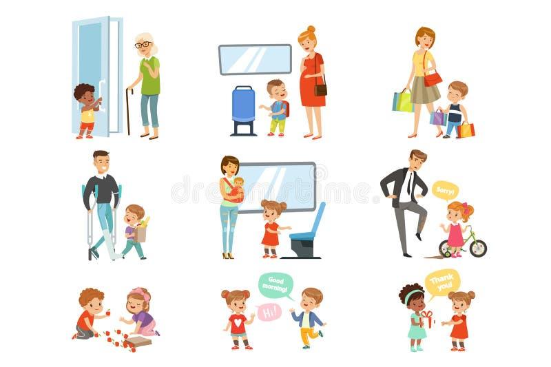 孩子有礼貌集合,帮助成人的礼貌的孩子,让路运输,感谢传染媒介例证 库存例证