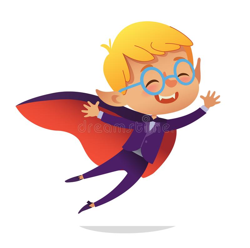 孩子服装党 德雷库拉万圣夜恶魔服装的飞行吸血鬼的男孩笑和 动画片传染媒介字符为 库存例证