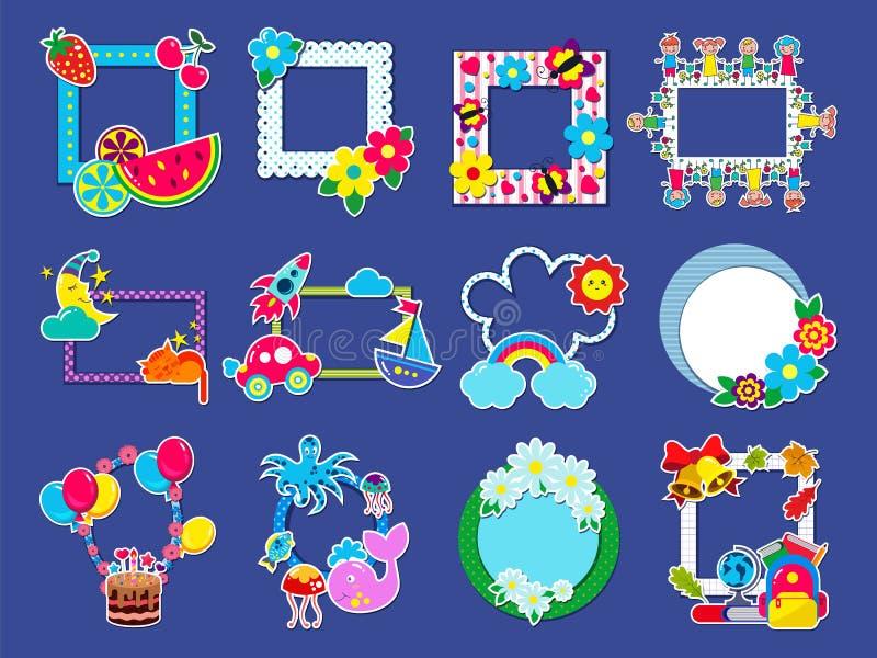 孩子框架传染媒介幼稚构筑的图片或儿童照片在墙壁上装饰babyroom例证套的装饰 向量例证