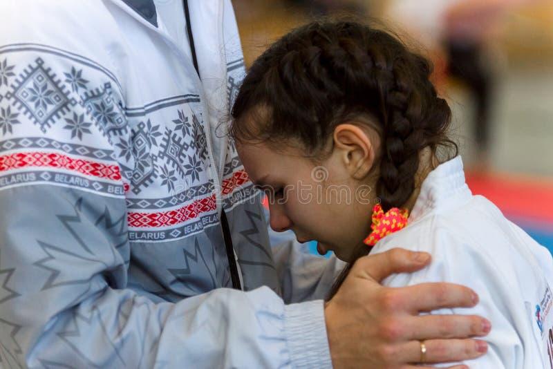 孩子欧洲冠军Kyokushin世界联合KWU和青年时期的2017年 库存图片