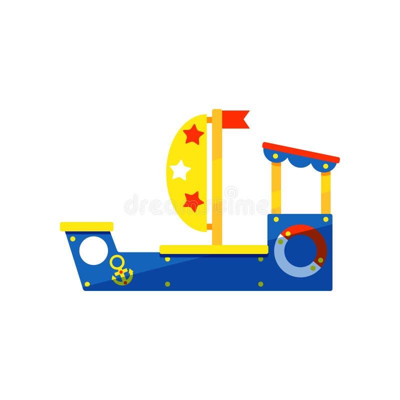 孩子比赛的五颜六色的船 儿童游戏区域 幼儿园操场的设备 平的传染媒介设计 皇族释放例证