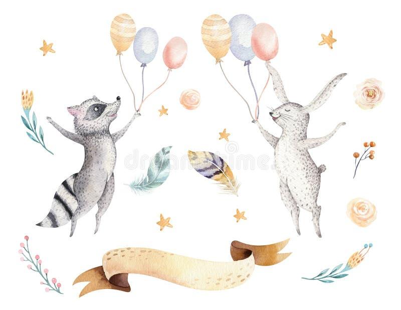 孩子水彩boho森林动画片生日patry兔子的逗人喜爱的跳跃的浣熊和兔宝宝动物例证 向量例证