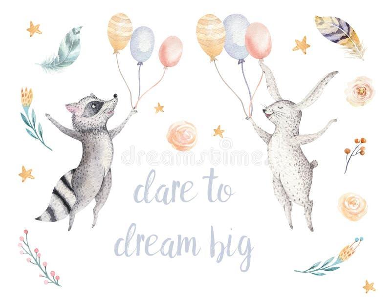 孩子水彩boho森林动画片生日patry兔子的逗人喜爱的跳跃的浣熊和兔宝宝动物例证 库存例证