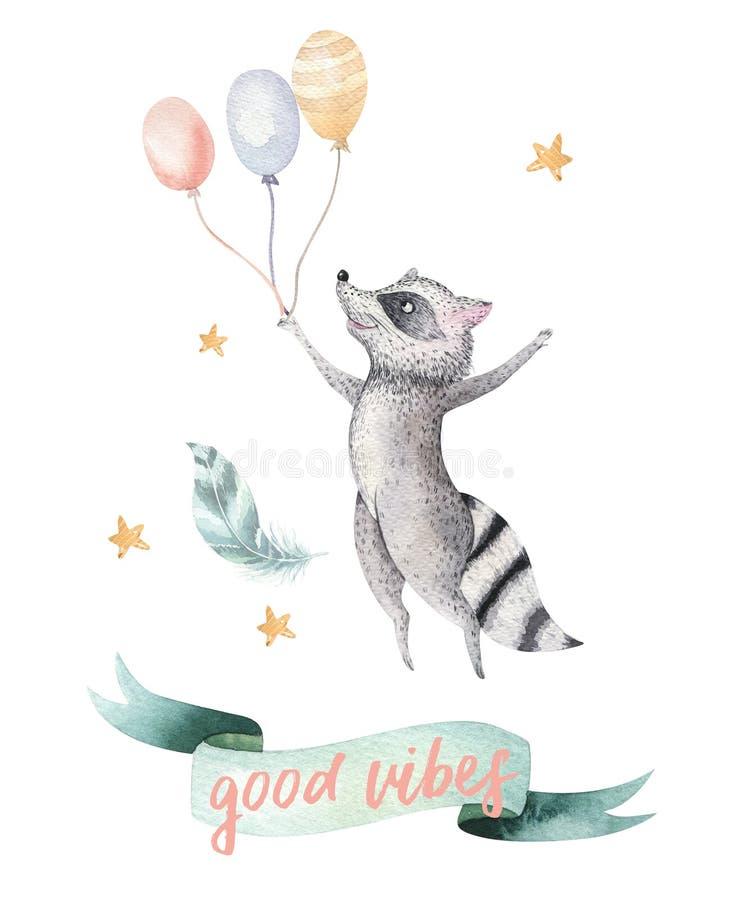 孩子水彩boho森林动画片生日patry气球邀请的逗人喜爱的跳跃的浣熊动物例证 向量例证