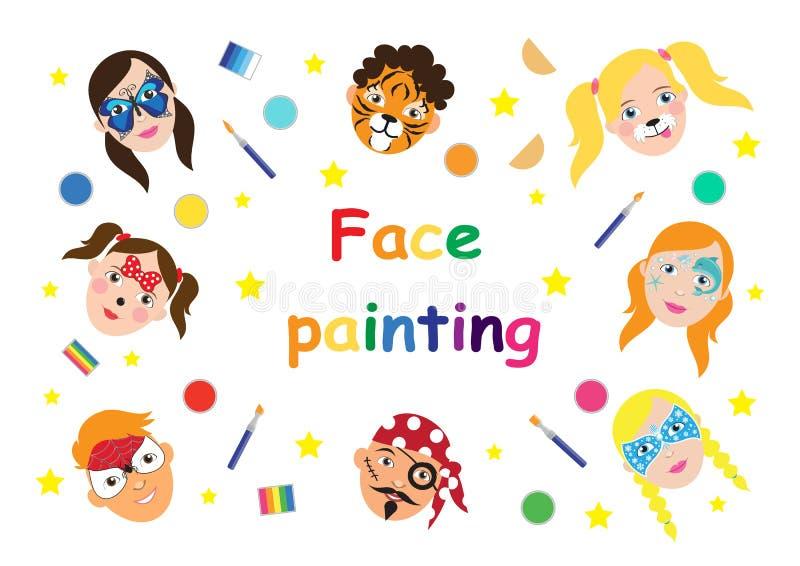 孩子汇集的面孔绘画 设置在动画片平的样式的象横幅的,海报 儿童的假日背景 向量 向量例证