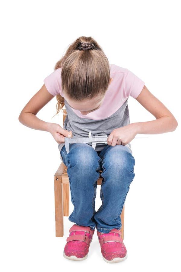 孩子测量腿 库存照片