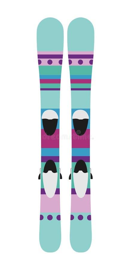 孩子滑雪 冬天家庭度假、活动或者旅行的设备象 库存例证