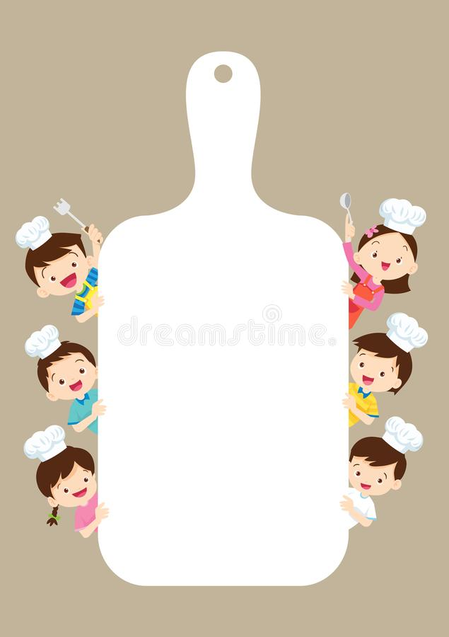孩子烹饪课证明设计模板 烹调膳食人的逗人喜爱的矮小的厨师 库存例证