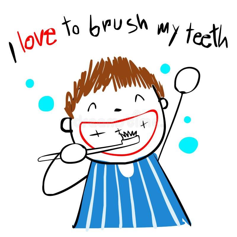 孩子爱刷子牙例证 向量例证