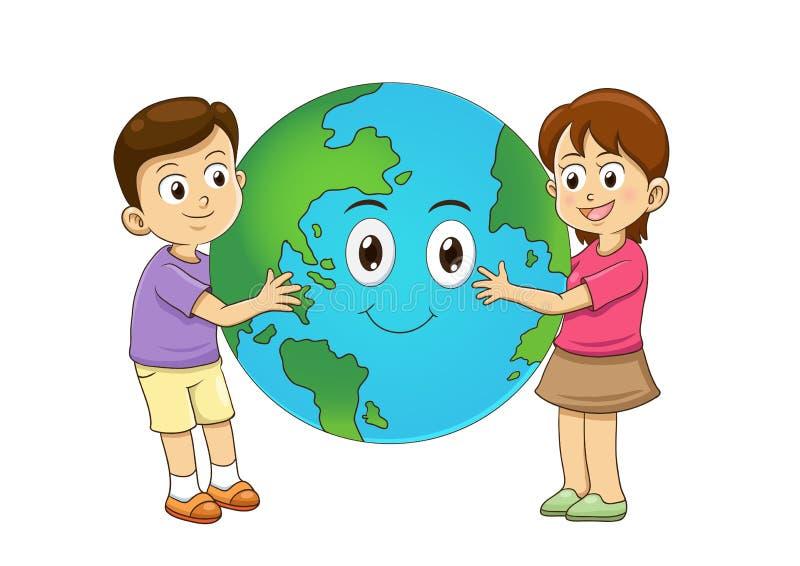 孩子爱拥抱行星的地球 图库摄影