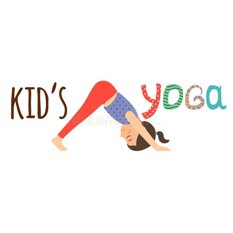 孩子瑜伽与女孩的商标设计 库存例证