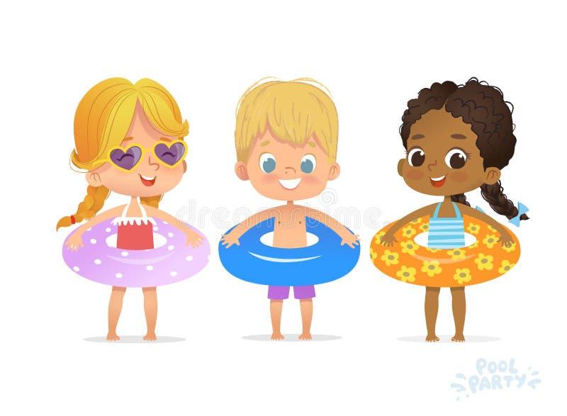 孩子生日宴会时间游泳场假期 太阳镜的滑稽的女孩 游泳锻炼节日 热带夏天 向量例证