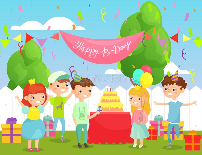 孩子生日宴会的传染媒介例证在有许多愉快的孩子的围场明亮的衣裳和装饰的,大 向量例证
