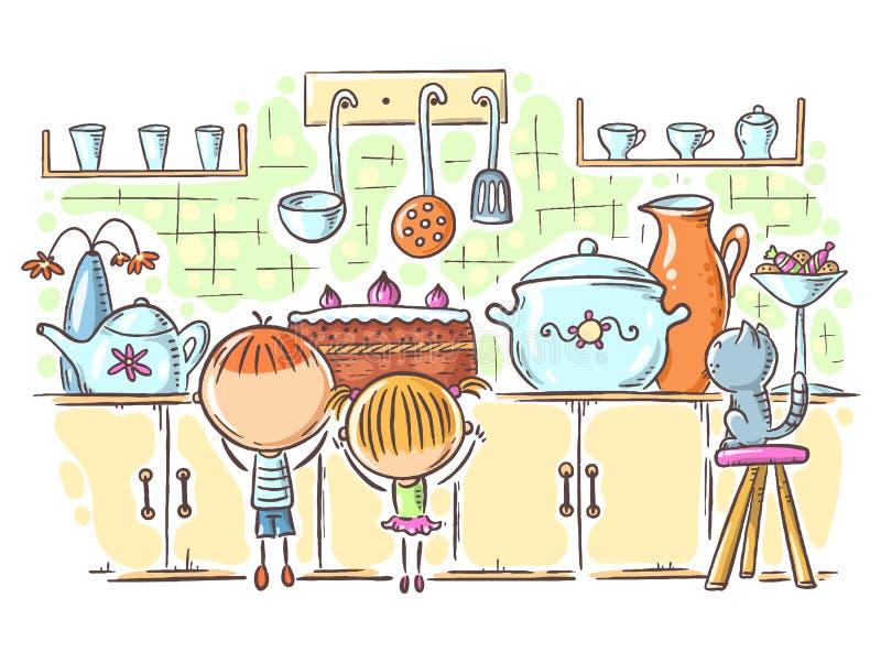 孩子由蛋糕吸引在厨房,动画片图画里 免版税图库摄影