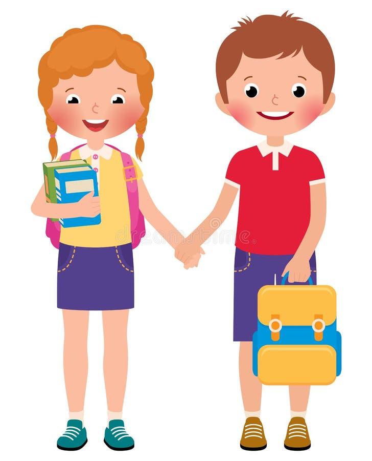 孩子男孩和学校的女孩学生 皇族释放例证