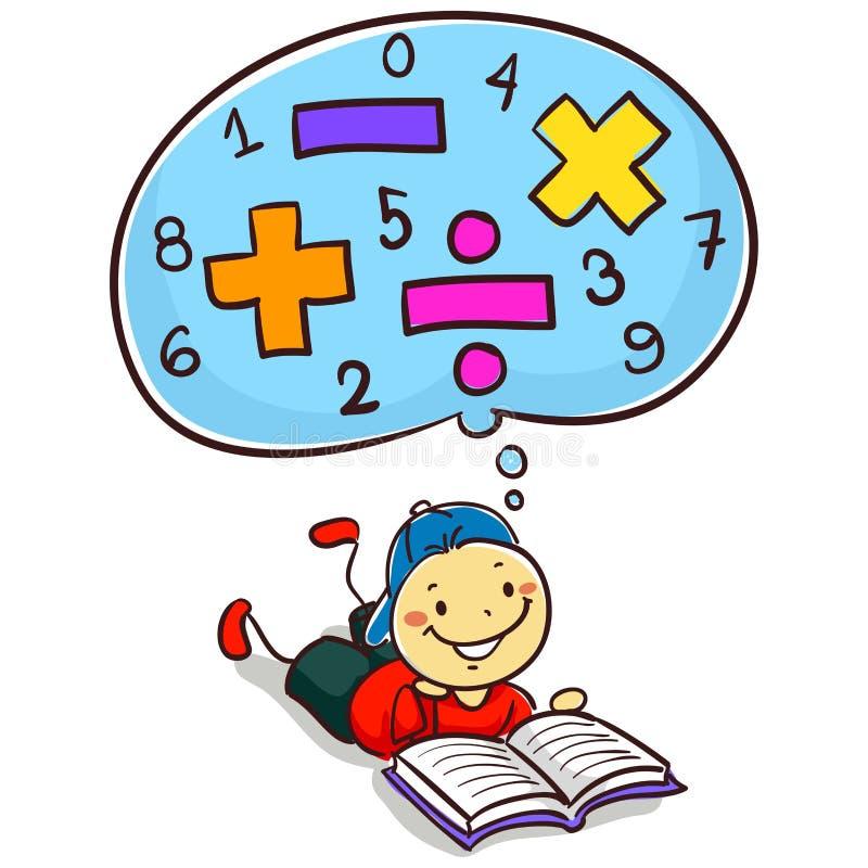 孩子男孩阅读书关于数学 皇族释放例证