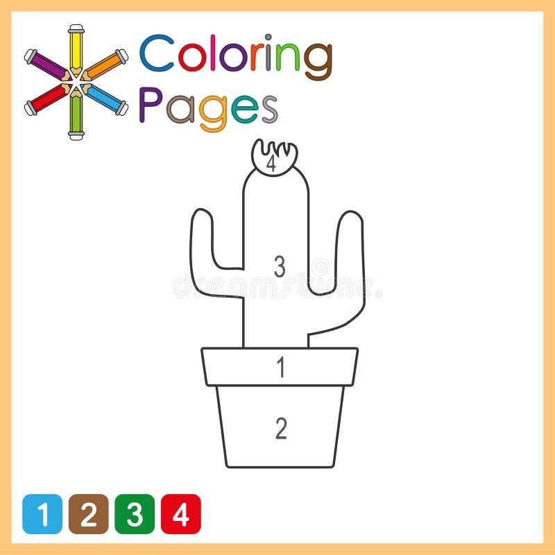 孩子的上色页,颜色对象,由数字的颜色的部分根据数字的 向量例证
