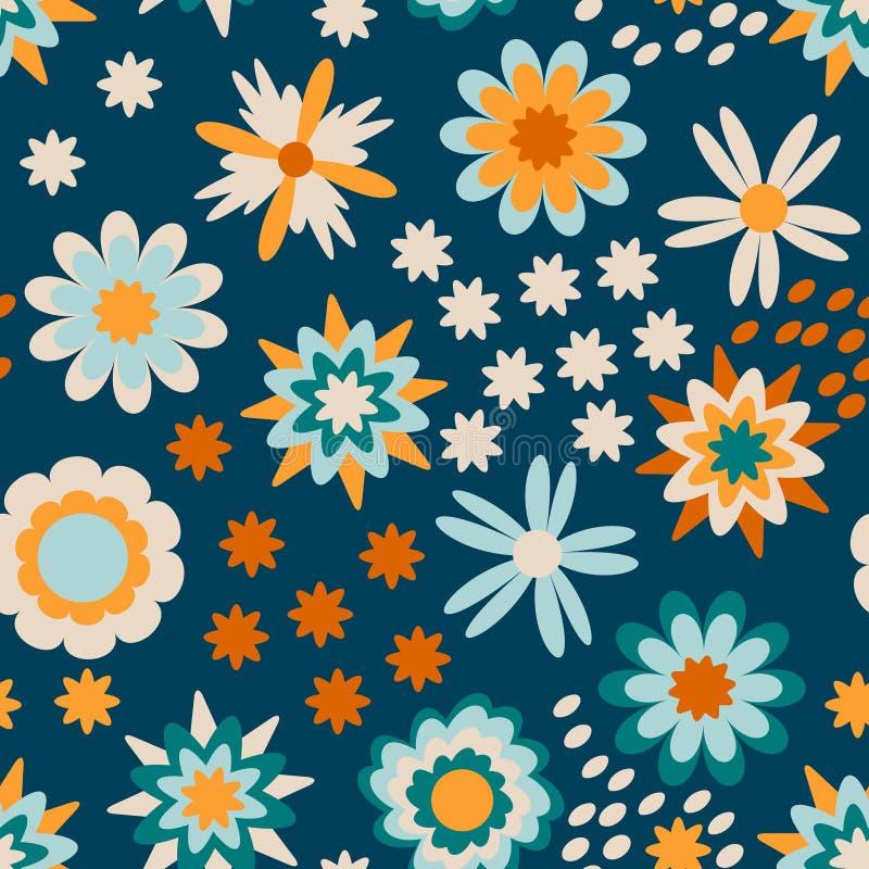 孩子的五颜六色的花卉样式 向量例证