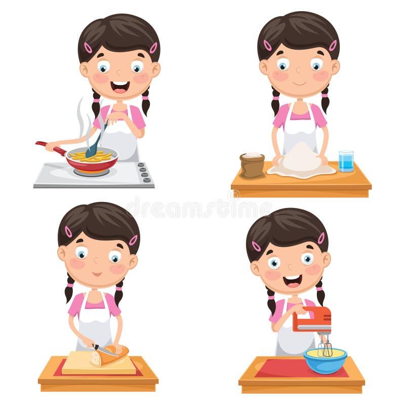 孩子的传染媒介例证在厨房的 向量例证